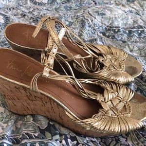 Franco Sarto gold wedge heels